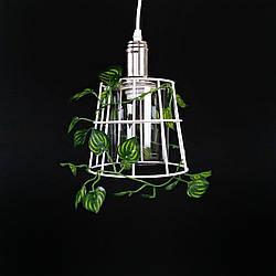 Люстра подвесная на одну лампу лофт белая с листочками 29-S0114/1A WT+CR+WT