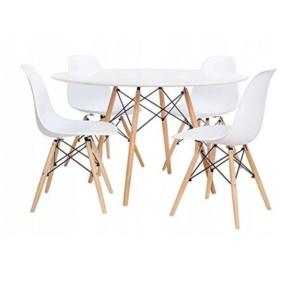 Столик Bonro В-957-600 + 4 белых кресла B-173