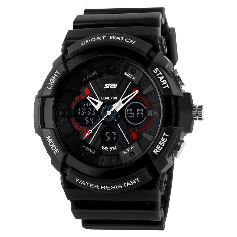 Skmei 0966 черные мужские спортивные часы