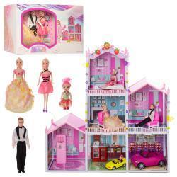 Домик 66928 (3шт) 118-115-32см, 3 этажа, мебель, кукла 3шт, 29см, в кор-ке, 56-36-27см