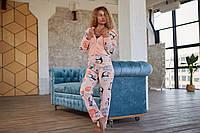 Женская пижама комбинезон с молнией и капюшоном. Стильная женская пижама кигуруми для сна., фото 1