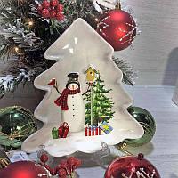 Новогодняя тарелка фигурная Веселые снеговики 21,5*20,5, керамика, фото 1