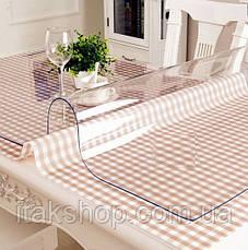 Скатерть мягкое стекло для стола и мебели Soft Glass (1.3х1.4м) толщина 0.4 мм Прозрачная, фото 3