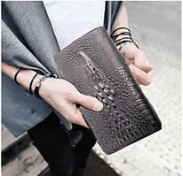 Чоловічий гаманець портмоне - клатч ALLIGATOR bag ZQ850 Чорний / клатч алігатор