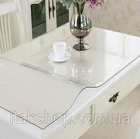 Скатерть мягкое стекло для стола и мебели Soft Glass (1.4х1.4м) толщина 0.4 мм Прозрачная