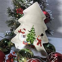 Фігурне новорічна страва з кераміки Веселі сніговики 23*26 см, фото 1