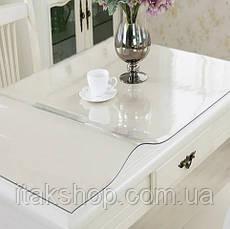 Скатертина м'яке скло для столу і меблів Soft Glass (1.5х1.4м) товщина 0.4 мм, Прозора, фото 2