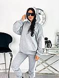 Теплый  спортивный костюм трехнить на флисе батник и штаны размер: 42-44, 46-48,50-52, фото 8