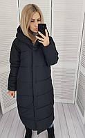 Зимний пуховик непромокаемый черный матовый, М521