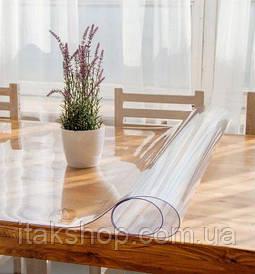 Скатерть мягкое стекло для стола и мебели Soft Glass (1.9х1.4м) толщина 0.4 мм Прозрачная