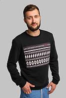 Мужской черный свитер с орнаментом, фото 1