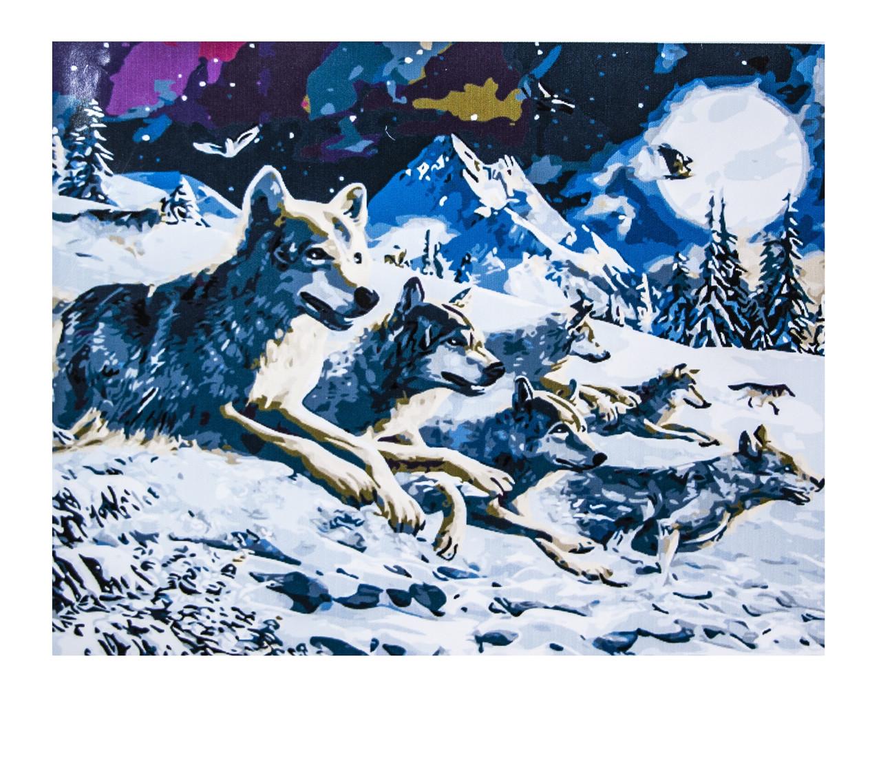 Картина по номерам Волки, размер 60х75