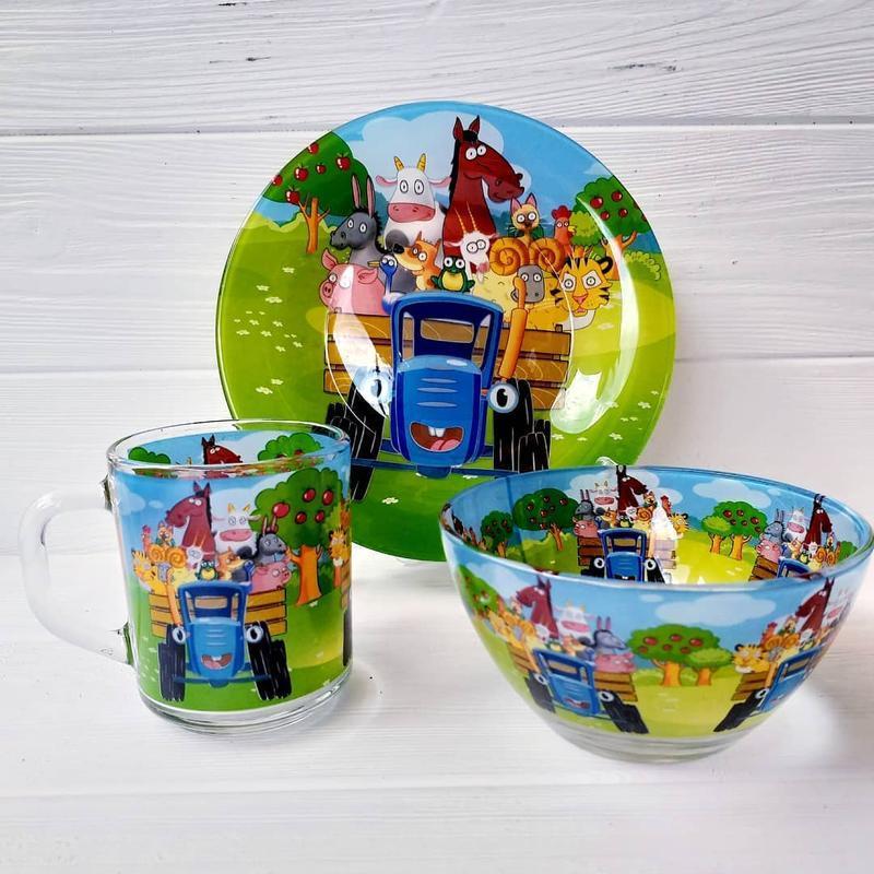 Подарунковий набір дитячого посуду Синій Трактор із скла