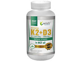 Вітаміни Vitamin K2 MK-7 100mcg + D3 2000IU 50mcg in MCT Oil 60 caps, Wish