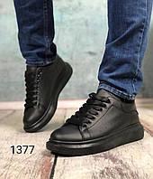 Кросівки жіночі,чорні,екошкіра зимові, фото 1