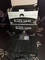 Маски медицинские в черном цвете в новых коробках! Упаковка 50 шт, трехслойные одноразовые, качество отличное