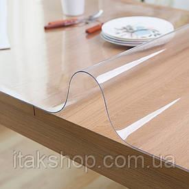 Скатерть мягкое стекло для стола и мебели Soft Glass (2.4х1.4м) толщина 0.4 мм Прозрачная