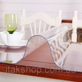 Скатерть мягкое стекло для стола и мебели Soft Glass (2.6х1.4м) толщина 0.4 мм Прозрачная