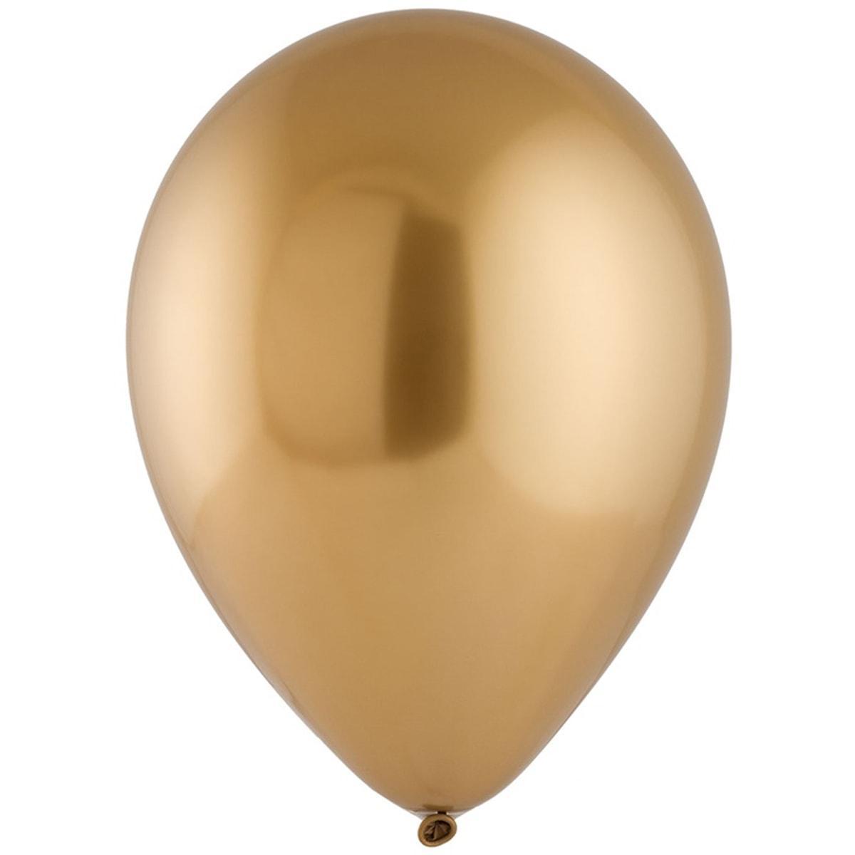"""Латексные шары круглые без рисунка 12"""" хром сатин золотистый gold sateen"""