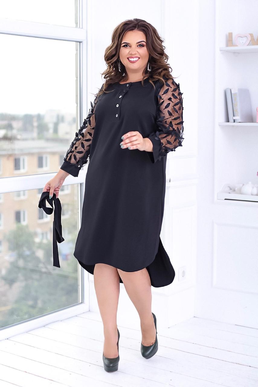 Нарядное женское черное платье большие размеры кружевное платье ( Батал)