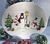 Новогоднее блюдо Веселые снеговики 30,5*25 см новогодняя посуда из керамики