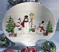 Новогоднее блюдо Веселые снеговики 30,5*25 см новогодняя посуда из керамики, фото 1
