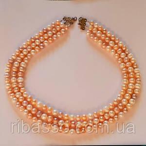 Кольє - натуральний рожевий перли