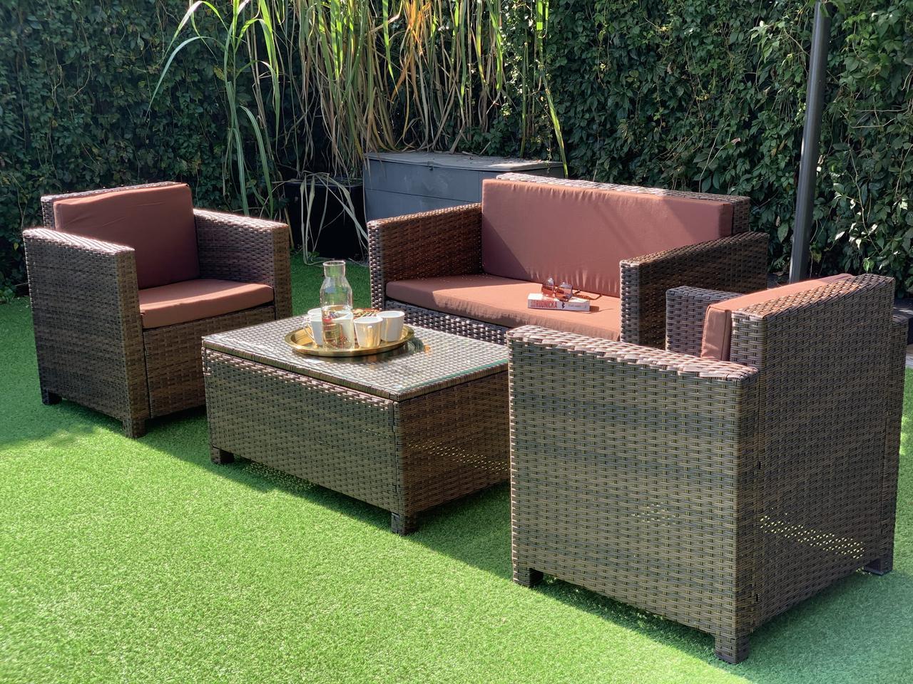 Комплект мебели из искуственного ротанга NICEA диван, 2 кресла и столик