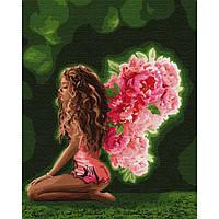 """Картина по номерам """" Девушка с крыльями из цветов"""""""
