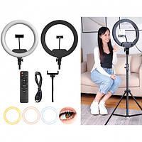 Кольцевая лампа для селфи / кільцева лампа селфі 33 см (AL 33) со штативом и с держателем для селфи и блогеров