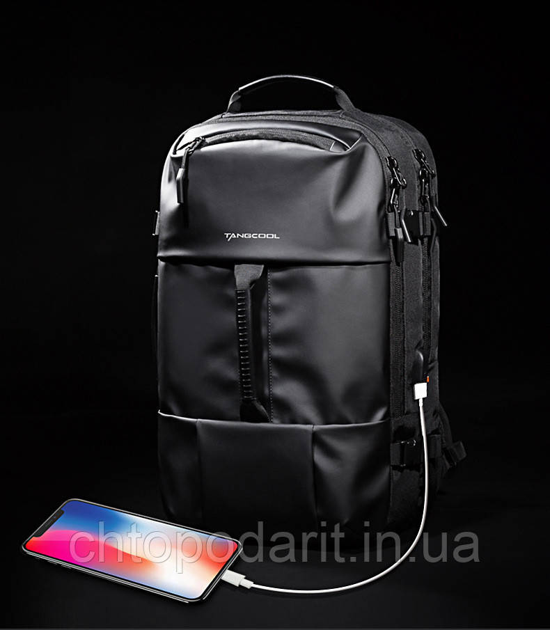 Рюкзак міський Tangcool з унікальною трансформацією в дорожня сумка чорна Код 15-0037