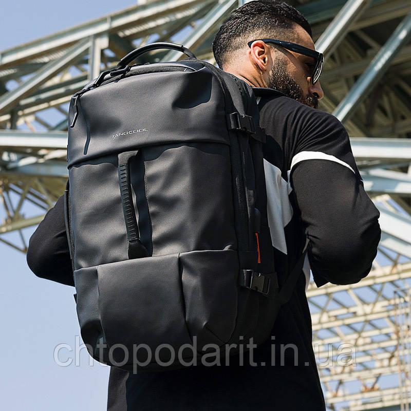 Городской рюкзак Tangcool с уникальной трансформацией в дорожная сумка чёрная Код 15-0037