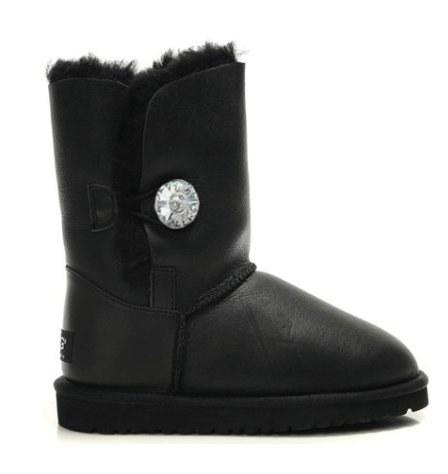 """UGG BAILEY BUTTON BOOT LEATHER BLING """"BLACK"""" Арт. 0352"""