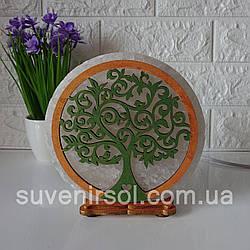 Соляной светильник круглый Дерево  3 цветное золот