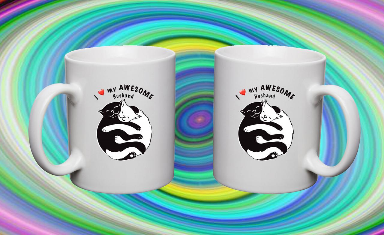 """Парные белые чашки (кружки) с принтом """"Коты Инь и Ян"""""""