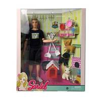 Кукла 7727-A3 (36шт) Кен, 30см, шарнирн, собачка 3шт, набор для уборки, в кор-ке, 28,5-33,5-9см