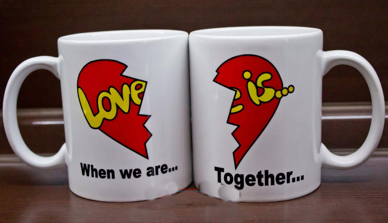 "Парные белые чашки (кружки) с принтом ""Love is... When we are Together """