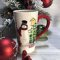 Новогодняя кружка Веселые снеговики 550 мл, керамика, фото 1