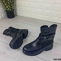 Женские ботинки ЗИМНИЕ черные из НАТУРАЛЬНОЙ КОЖИ. Внутри полушерсть, фото 3