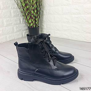 Женские ботинки ЗИМНИЕ черные из НАТУРАЛЬНОЙ КОЖИ. Внутри полушерсть, фото 2