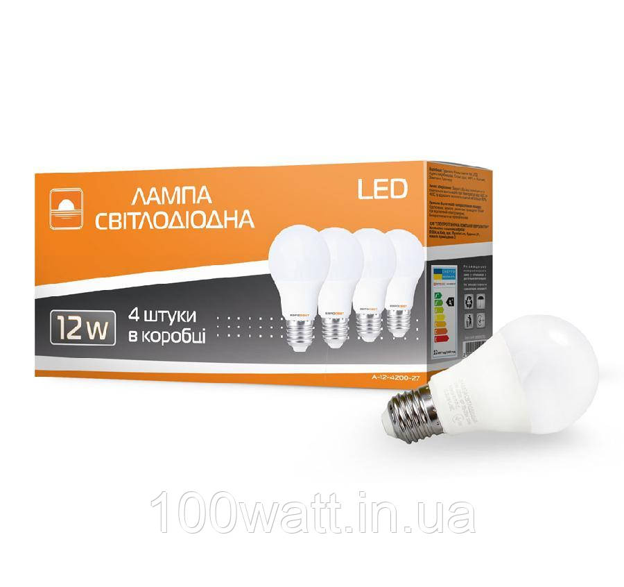 Набор из 4 шт Лампа светодиодная ЕВРОСВЕТ 12Вт 4200К A-12-4200-27 Е27