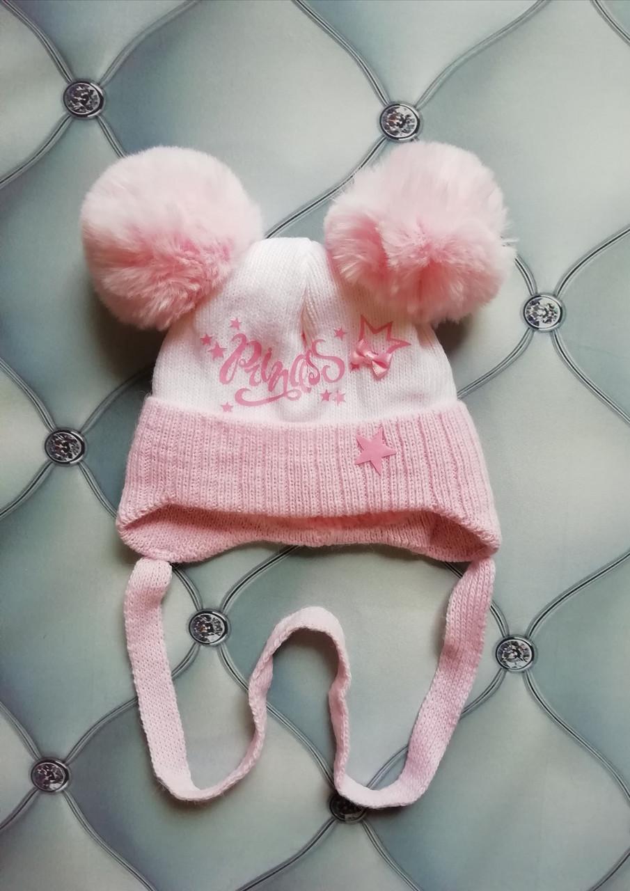 Шапка для новорожденной девочки на махре Принцеска, на завязках, р. 36-38, белая с розовым