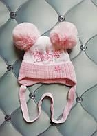 Шапка для новорожденной девочки на махре Принцеска, на завязках, р. 36-38, белая с розовым, фото 1