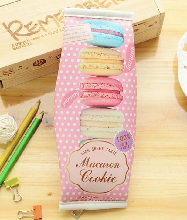 Пенал-косметичка в школу, для девочек, «Макарунс» с рисунком макарунсов, Macaron (розовый)