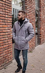 Зимняя мужская куртка серая люкс качества до - 20 С. Размер 48, 50, 52, 54