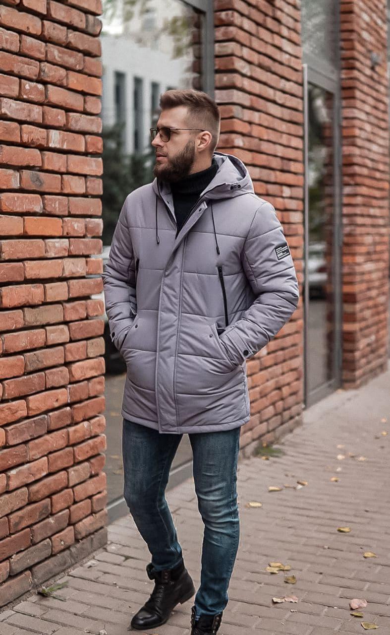Зимова чоловіча куртка сіра люкс якості до - 20 С. Розмір 48, 50, 52, 54