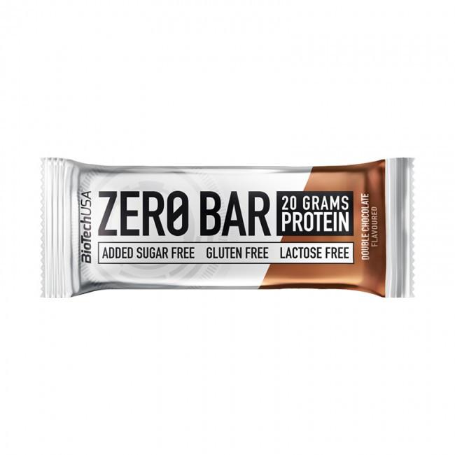 Протеїновий батончик BioTech Zero Bar 50g. ПОДВІЙНИЙ ШОКОЛАД