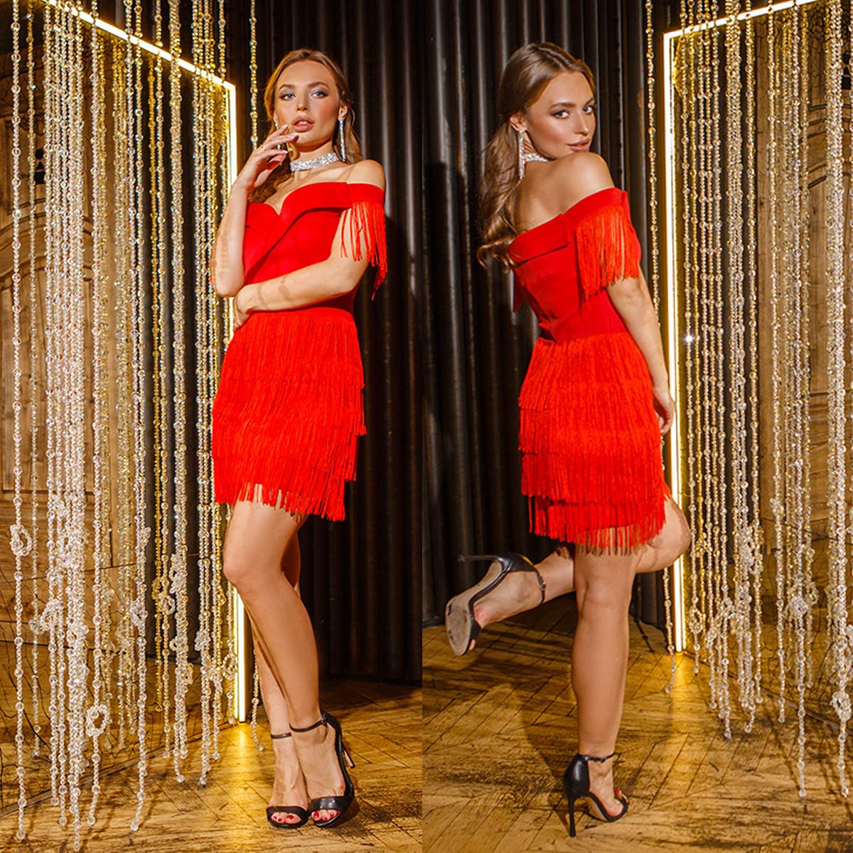 """Красное коктейльное новогоднее короткое платье """"Блюз"""""""