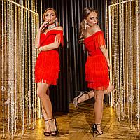 """Красное коктейльное новогоднее короткое платье """"Блюз"""", фото 1"""