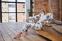 Пижама комбинезон женская с молнией и капюшоном. Стильная женская пижама кигуруми для сна., фото 1